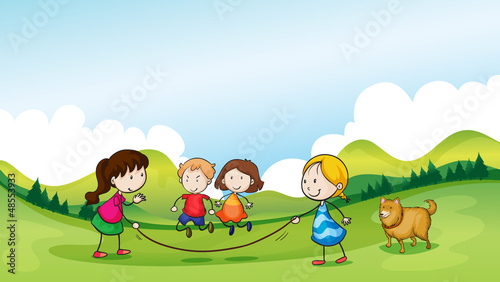 Poster Dogs Children playing jumping rope