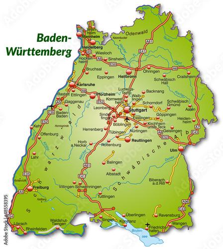 Landkarte Von Baden Wurttemberg Mit Autobahnnetz Buy This Stock
