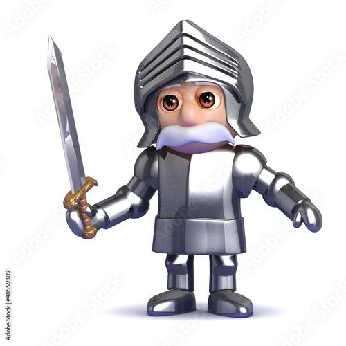 Knight draws his sword