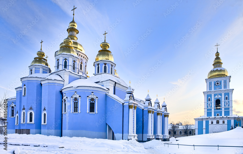 Fototapety, obrazy: St Michael cathedral in Kiev in snow