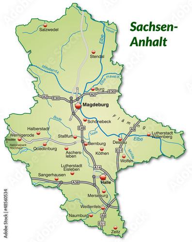 Landkarte Von Sachsen Anhalt Mit Verkehrsnetz Buy This Stock