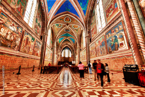 Assisi Dome Saint Francis Church interior view Canvas Print