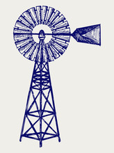 Old Windmill. Doodle Style