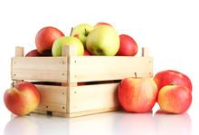 Juicy Apples In Wooden Crate, ...