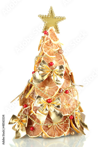 Beautiful Christmas Tree Of Dry Lemons With Decor Isolated Buy