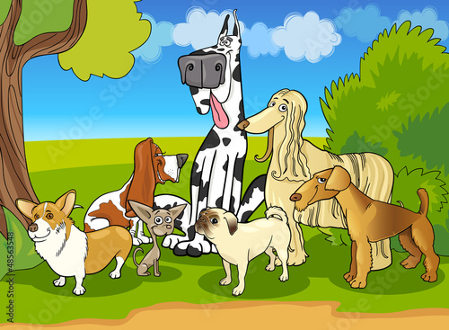Garden Poster Dogs purebred dogs group cartoon illustration