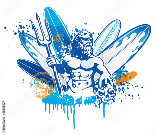 Obraz na plátně poseidon surfer