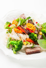 Stir-fry With Beef, Vegetables And Noodle
