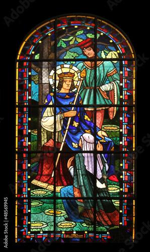 In de dag Stained St Louis IX, Notre Dame de Clignancourt church, Paris, France
