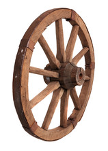 Old Wooden Wheel On The White ...
