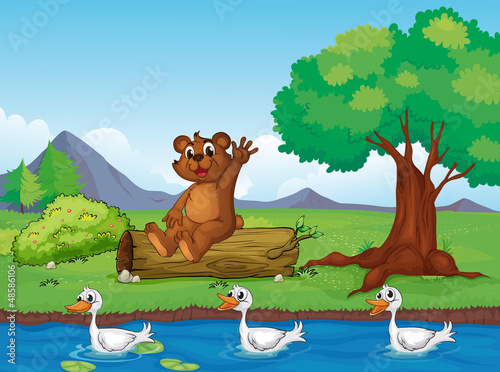 Deurstickers Rivier, meer A smiling bear and ducks