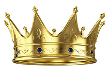 Gold Crown Isolated On White B...
