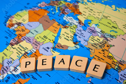 Autocollant pour porte Carte du monde world peace message
