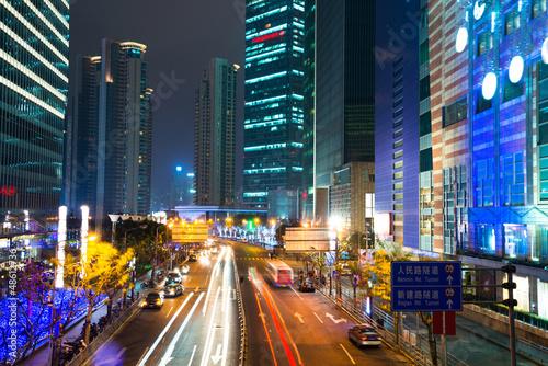 Fototapeta night scene of modern city obraz na płótnie