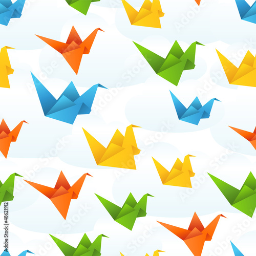 Photo Stands Geometric animals Origami paper birds flight abstract background.