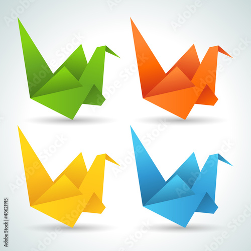 Fotobehang Geometrische dieren Origami paper birds collection.