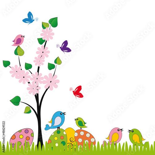 Poster Oiseaux, Abeilles Easter card