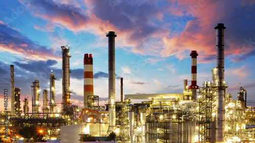 Fotografie, Obraz  Oil and gas industry - refinery at twilight - factory - petroche
