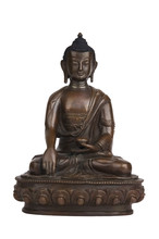 Bronze Buddha Statuette Isolated On White. Indian Handicraft