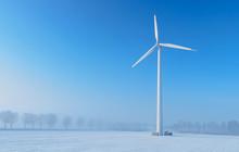 Giant Wind Turbine In A Winter Landscape