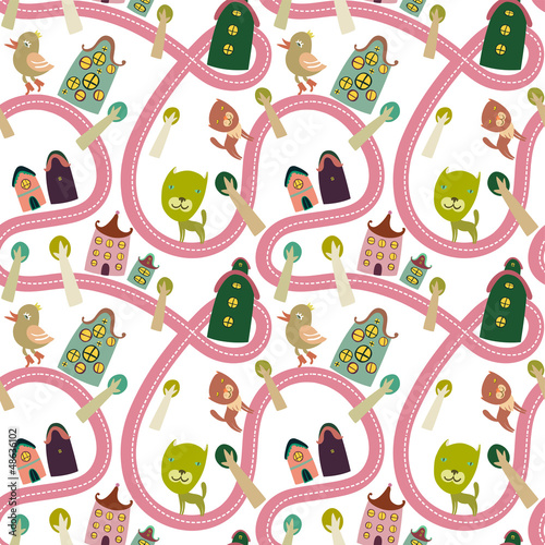 Garden Poster On the street Road seamless pattern with houses and animals