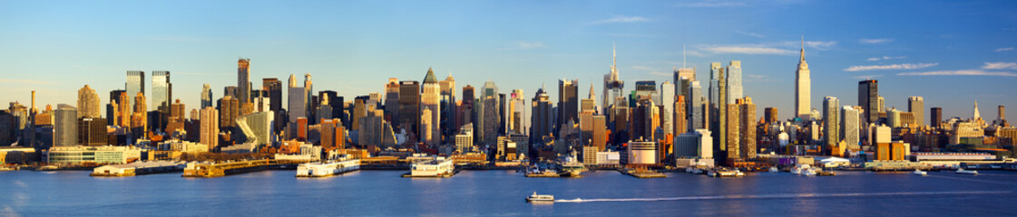 Obraz na Plexi Miasta Manhattan Midtown skyline panorama before sunset, New York