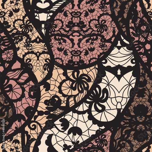 Fototapeta na wymiar Black lace vector fabric seamless pattern with lines and waves