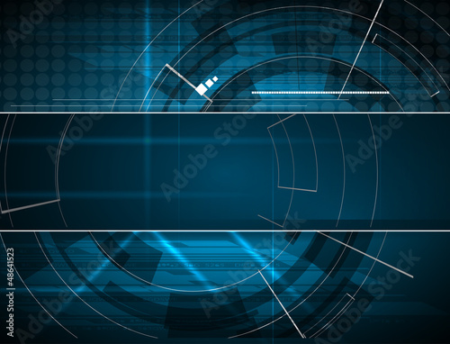 Fotografering  abstract blue computer technology business banner background