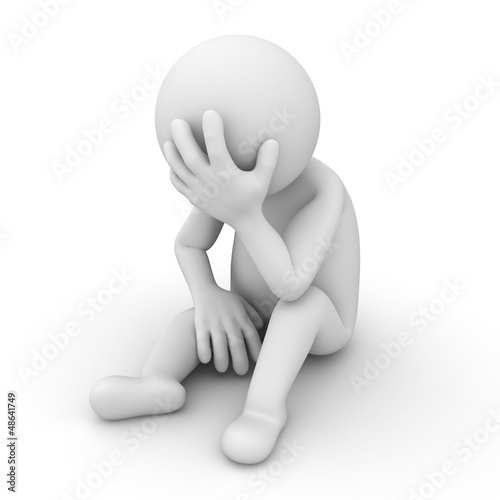 Fotografia  Depressed 3d man sitting over white background