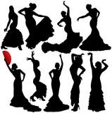 Flamenco vector silhouettes. Layered. Fully editable.
