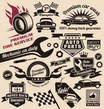 Vector Set Of Vintage Car Symb...