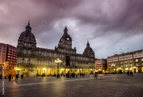 Plaza Mayor (Main square) of La Coruna, Galicia, Spain