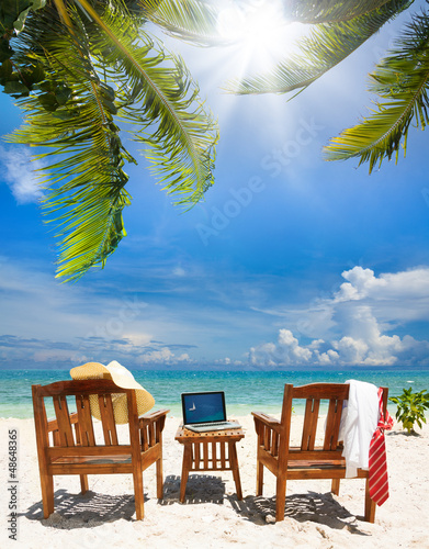 Foto-Schiebegardine Komplettsystem - Stop working, start relax