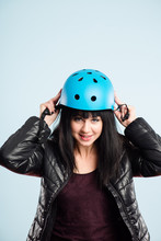 Funny Woman Wearing Cycling Helmet Portrait Real People High Def
