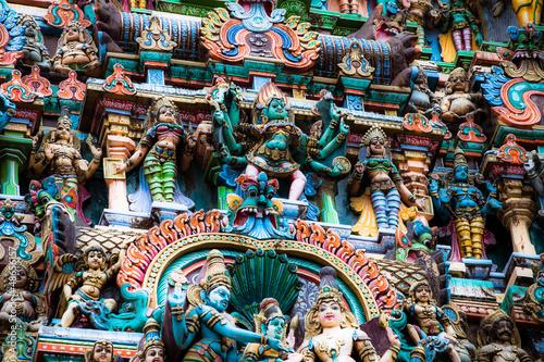 Stickers pour porte Delhi Details of Meenakshi Temple in Madurai, India.