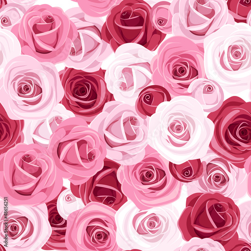 Seamless background with colored roses. Vector illustration. - 48656251