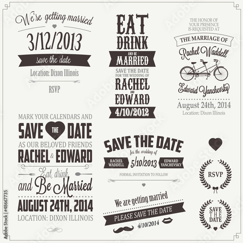 Foto auf AluDibond Weinlese-Plakat Set of wedding invitation vintage typographic design elements