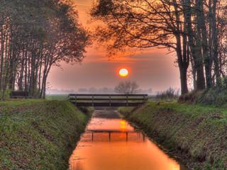 Fototapeta Mosty Sunset over bridge hdr
