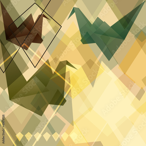 Fotobehang Geometrische dieren Origami paper birds geometric retro background.