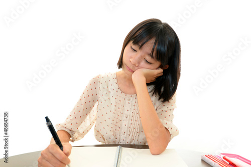 Fotografie, Obraz  勉強に嫌気を感じる女の子