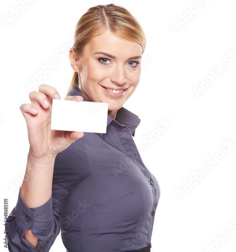 Fotografia  Bizneswoman trzyma kredytową kartę