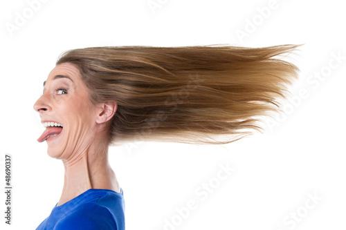 Photo  Frau - isoliert - vom Wind zersauste Haare