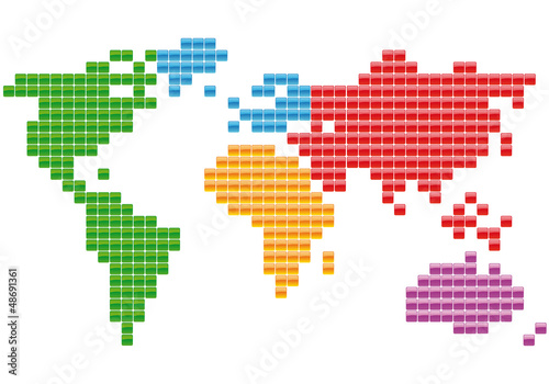 Recess Fitting World Map Planisphère Carrés multicolores
