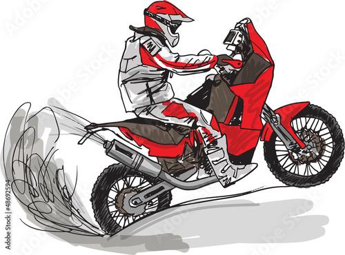 Poster Motocyclette Abstract sketch of biker. Vector Illustration