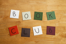 'Book Club' In Words On Tiles - Education, Literary, Library.