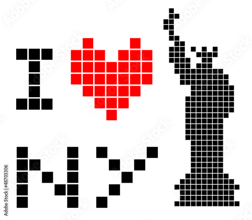 Photo sur Toile Pixel I love New York symbol