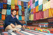 Small Shop Owner Indian Man At His Souvenir Store