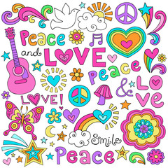 Fototapeta Do pokoju dziewczyny Peace Love Music and Dove Notebook Doodles Vector Set