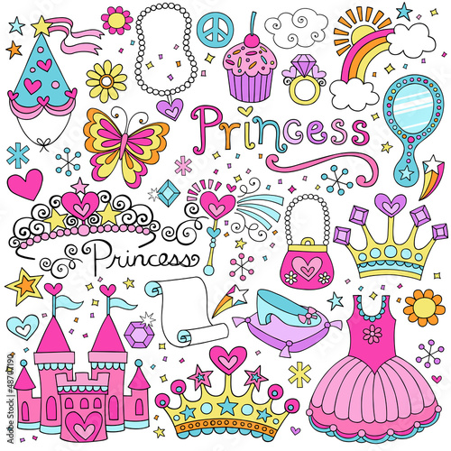 Fotografie, Obraz  Princess Fairy tale Tiara Notebook Doodles Vector Set