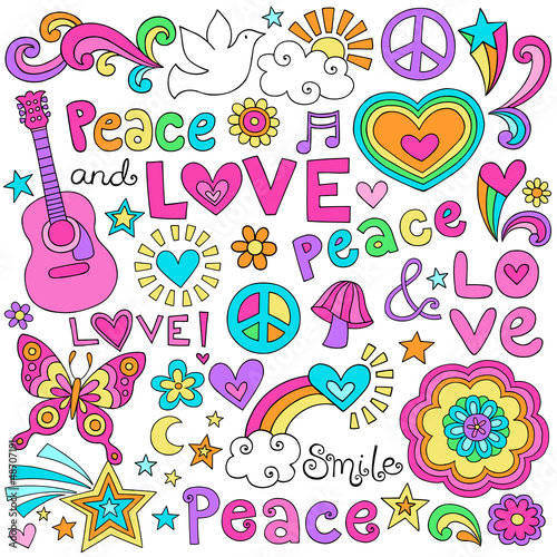 Peace Love Music and Dove Notebook Doodles Vector Set - 48707191